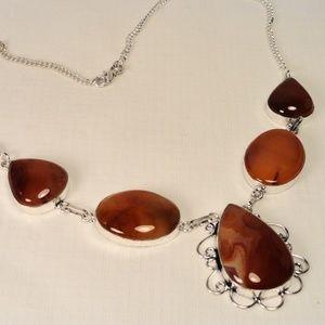 "Orange Carnelian Agate gemstone necklace 20-1/2"""